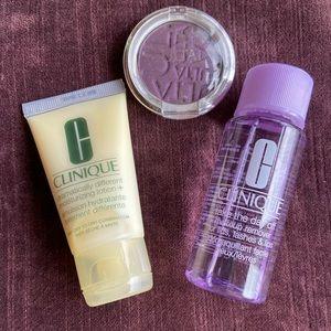 Clinique lotion, makeup remover, & Ulta eyeshadow.